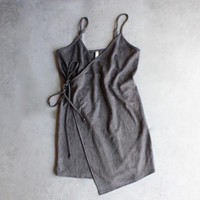 faux suede wrap cami dress - more colors