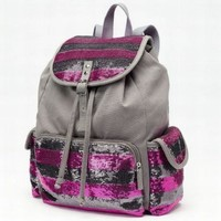 Candies Pink & Gray Stripe Sequin Backpack Sport School Travel Pack Daypack