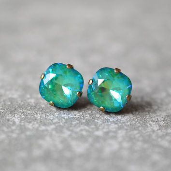 Emerald Aurora Borealis Earrings Swarovski Crystal Green Rainbow Square Stud Earrings Rounded Square Mashugana