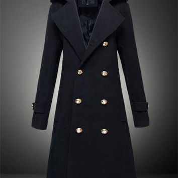 Military Double-Breasted Trench Coat