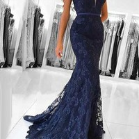 Evening Dress Modest Dark Blue Lace V Neck Prom Dress