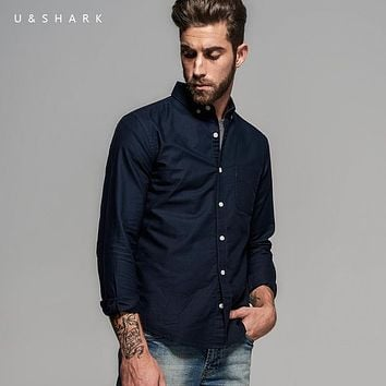 U&Shark Fashion Navy Blue Button Down Collar Oxford Cotton Shirt Men Blouse Brand Clothes Long Sleeve Designer Casual Shirt Male