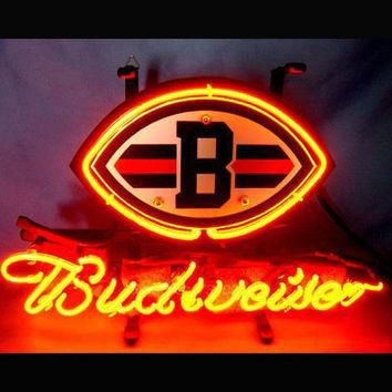 NFL CLEVELAND BROWNS BUDWEISER Beer Bar Neon Light Sig Nikee Rochee Neon Sign Nbaa Jer
