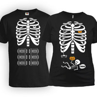 Halloween Pregnancy Gifts Maternity T Shirt Skeleton Shirt Birth Announcement Couples Clothes Pregnant Mom Shirt Father To Be MAT-20-168