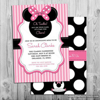 Minnie Mouse Baby Shower Invitation, printable baby shower invite, pink black, polka dots, bow, baby shower package available