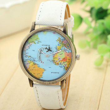 New Global Travel By Plane Map Wrist Watch Fabric Band | White