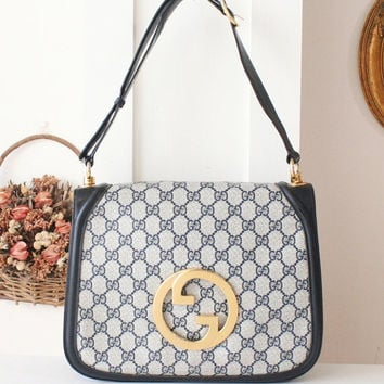 Vintage Gucci Bag - Monogram Big Logo 2 ways shoulder handbag purse authentic