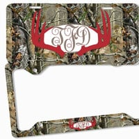 Red Brown Camo Antlers Monogram License Plate Frame Metal Car Tags Personalized