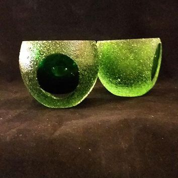 Pair of Green Votive Candleholders Art Glass, Sparkling Ice Effect