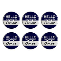 Omar Hello My Name Is Plastic Resin Button Set of 6