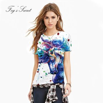 2018 Summer T Shirt for Women Color unicorn Painting Horse Pattern Print T-Shirt Female Clothes Cute Tops For Girl