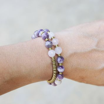 Amethyst and Rose Quartz 27 Bead Wrap Mala Bracelet