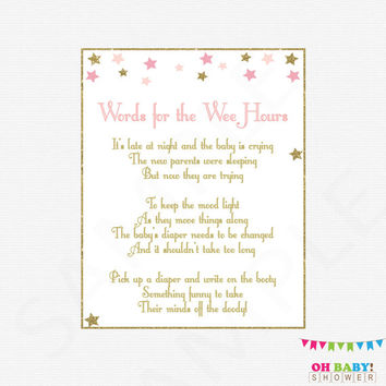 Late Night Diapers, Baby Diaper Game, Write a funny message on the diaper, Baby Shower Activity, Pink and Gold, Twinkle Twinkle Star, STPG