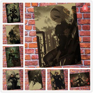 Wall Sticker Vintage NieR Automata 2B Game Poster Bar Kids Room Home Decor Type B Video Game Retro Kraft Paper Wall Decals