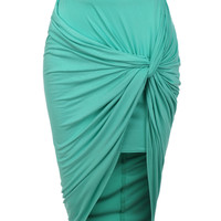 LE3NO Womens Asymmetrical Banded Waist Wrap Cut Out Hi Low Skirt