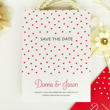 Simple romantic Save the Date wedding card printed on luxury white pearlescent paper - red and white hearts