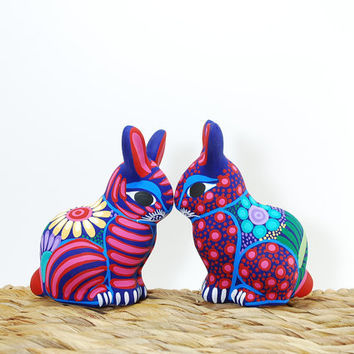 Love is in the air bunny - Be my valentine pottery rabbit - Red polka dots - ceramic animal - Red ceramics