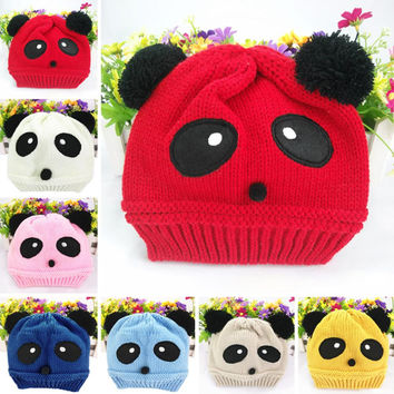 Winter Cute animal Panda Baby Hats boy girl kids Warm crochet beanie hats cap for children bonnet enfant Y1