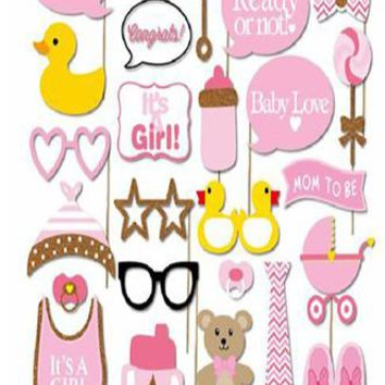 Mom to Be Girl Photo Booth Props For Baby Shower - PRA130