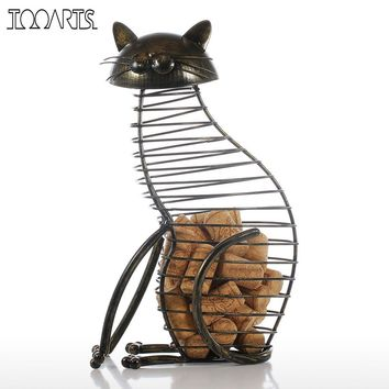 Tooarts Metal Cat Figurines Cork Container - Modern Style