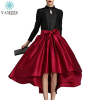 V-QUEEN 2016 Luxury High Waist Party Asymmetrical Hem Swallow-tailed Pleated Elegant Bow Women Satin High Low Skirts A1410295