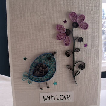 handmade paper quilled card – with love