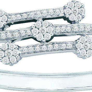 14kt White Gold Womens Round Diamond Flower Cluster Bangle Bracelet 2-1/2 Cttw
