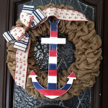Nautical Wreath, Nautical Burlap Wreath, Patriotic Wreath, Summer Wreath, 4th of July Wreath, Beach Wreath, Anchor Wreath, Nautical Decor