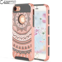 "Cenmaso Case For Apple IPhone 7 iPhone7 4.7"" Luxury Painted Mandala Flower TPU PC Back Cover Protection Mobile Phone shell"