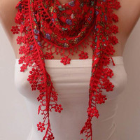 New - Cotton Red Scarf with Red Lace Trim Edge
