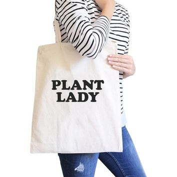 Plant Lady Natural Reusable Grocery Bag Cute Design Canvas Tote Bag