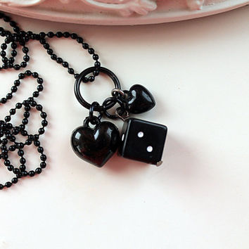 Dice and hearts Kawaii long Necklace Gothic Lolita kitsch black