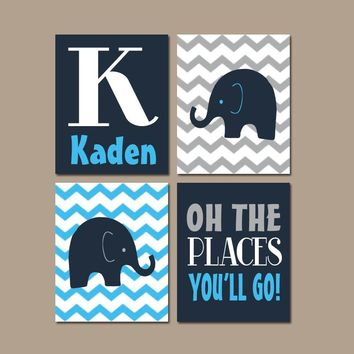 ELEPHANT Wall Art, Elephant Nursery Decor, CANVAS or Print Art, Baby Boy Elephant Decor, Elephant Chevron, Oh The Places You'll Go, Set of 4