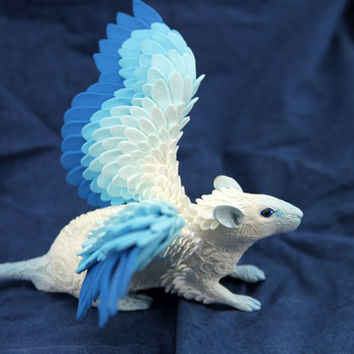 Frost Ghost Winged Rat Mouse figurine art sculpture pet, Rat angel, rat totem, amulet, fairy, fantasy