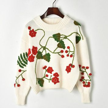 New hand-hook flowers three-dimensional cherry-knitted sweater