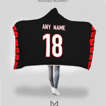 Cincinatti Bengals Hooded Blanket - Personalized Any Name & Any Number
