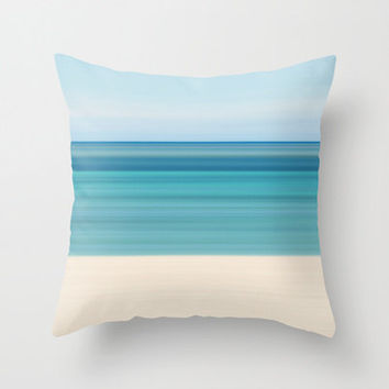 Coastal Decor Throw Pillow Beach Cottage Living Room Teal Aqua Beige Blue Nautical Stripes Preppy Tropical Home Abstract Photo Pillow