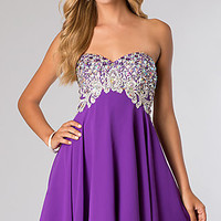 Jeweled Short Strapless Dress from JVN by Jovani