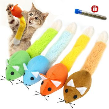 Funny False Mouse Cat Toy Plush Long Tail Mice Interactive Cat Toys Free Catnip For Cats Kitten Scratch Playing