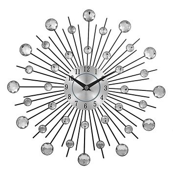 Crystal Sunburst Metal Clock Home Art Decor