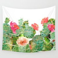 scratched cactus Wall Tapestry by clemm