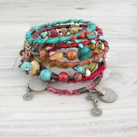 Silk Road Gypsy Bangle Stack - Summer Colors - 6 Bohemian Tribal Bracelets,  Silk Wrapped and Beaded