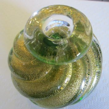 Murano Glass Spiral Green Gold Bottle Style Archimede Seguso Paperweight
