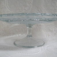 Vintage Footed Cake Stand KIG Malaysia Pressed Glass Cake Plate Scalloped Edge