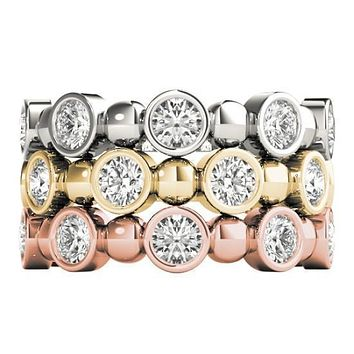 Stackables 3/4 Eternity Tri-Tone Gold Round Bezel Diamonds & Large Beads 3-Band Set Selectables