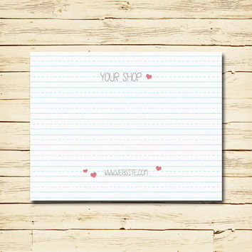 Headband Card Bow Card Display Card design Printable Custom Premade Scribbles on notebook paper Hearts Handwriting