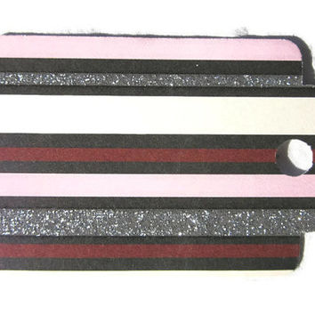 Gift Tag Card Stock Stripes Glitter 28