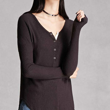 Waffle-Knit High-Low Dolman Top
