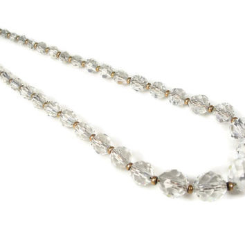 Art Deco Cut Crystal Necklace Gold Filled Beads, Chain
