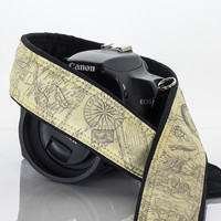 257 Camera Strap Old World Map